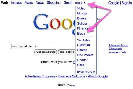 google blog search. Conduct a Google blog search