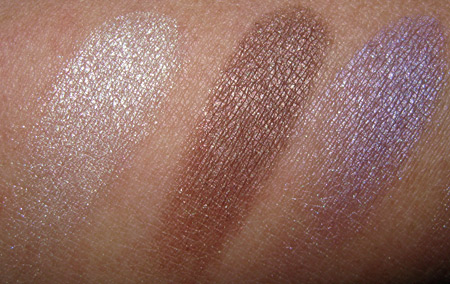 benefit velvet eyeshadows swatches bikini line dandy brandy gimme some plum
