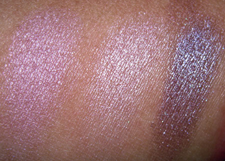 mac a rose romance swatches of summer et tu bouquet circa plum