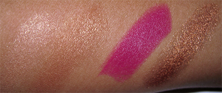 illamasqua sirens swatches enrapture liquid metal resist lipstick glint and burnish bronzing duo