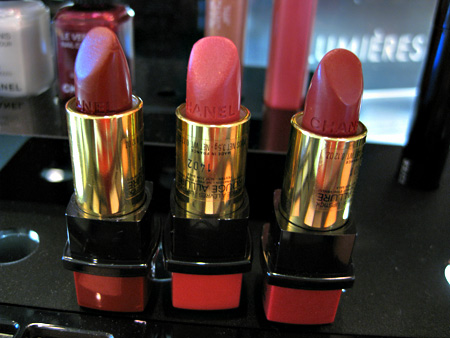 chanel venice collection fall 2009 swatches reviews clandestine 73 comedia 74 amusing 75 rouge allure lipsticks