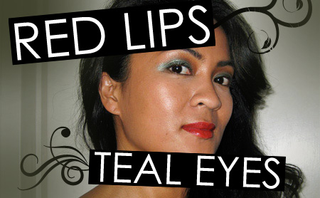 Red lips and teal eyes makeup tutorial