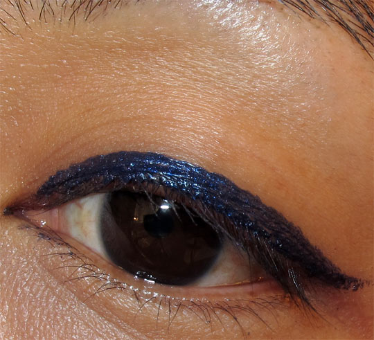 mac fabulous felines swatches review signature blue superslick liquid eye liner