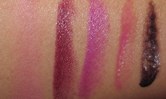 mac venomous villains review swatches photos maleficent beauty powder lipstick lipsglass swatches on nc35 skin