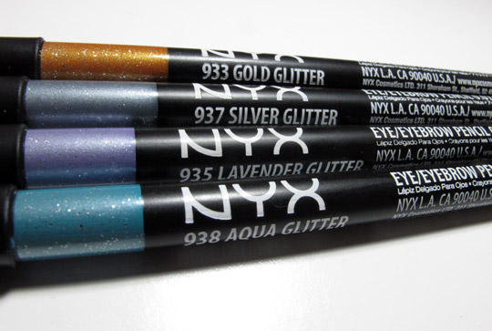 nyx glitter pencil swatches review