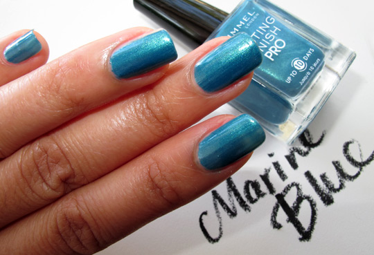 rimmel lasting finish pro polish review swatches marine blue