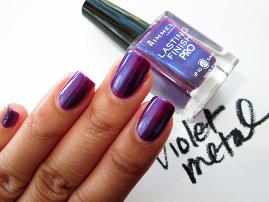 rimmel lasting finish pro polish review swatches violet metal