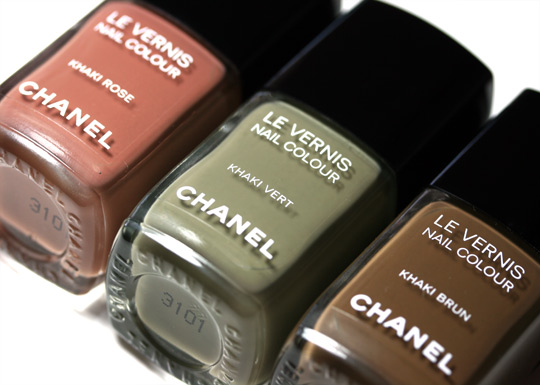 chanel les khaki de chanel swatches review photos khaki brun khaki rose khaki vert