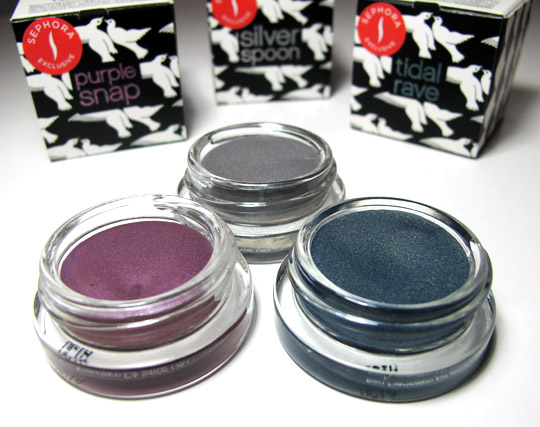 benefit creaseless cream shadow swatches review purple snap tidal wave silver spoon