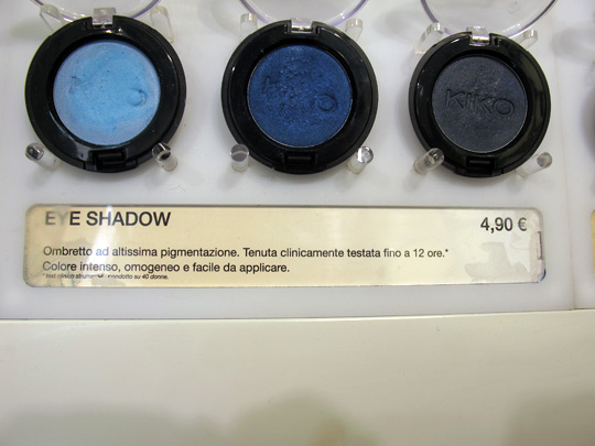 kiko cosmetics makeup eyeshadow pans three blue