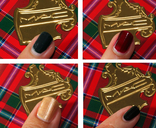 mac a tartan tale swatches 5 naughty little vices nail lacquer four
