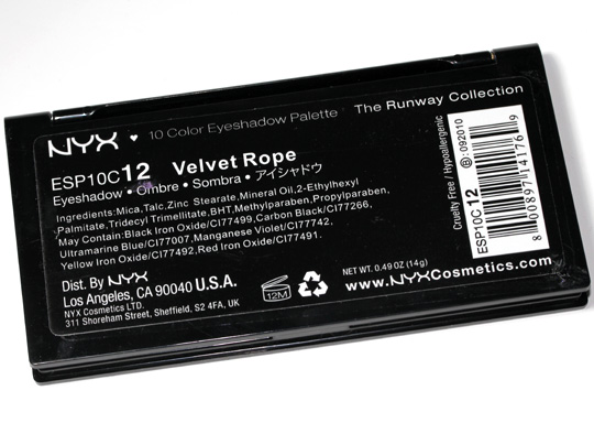 nyx velvet rope eyeshadow palette runway collection review swatches photos ingredients