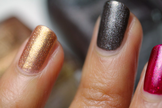 Sonia Kashuk Reach For the Stars Nail Trio Holiday Set swatches gray and gold