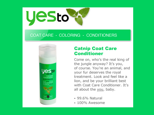 Tabs for Yes To Catnip Coat Conditioner