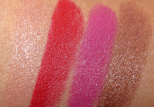 MAC Wonder Woman Swatches lipsticks NC35