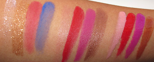 MAC Wonder Woman Swatches pigments lipsticks lipglasses flash NC35