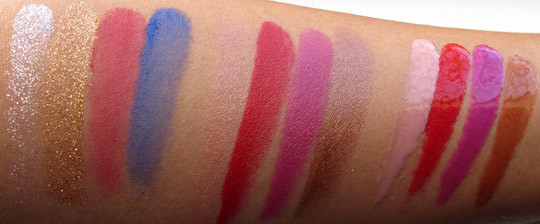 MAC Wonder Woman Swatches pigments lipsticks lipglasses no flash NC35
