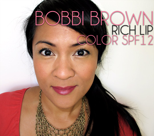 bobbi brown rich lip color spf 12 in plum rose on karen of makeup and beauty blog