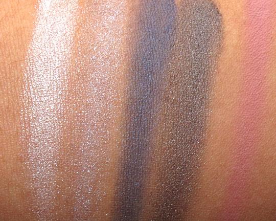 mac jeanius swatches eyeshadows blush