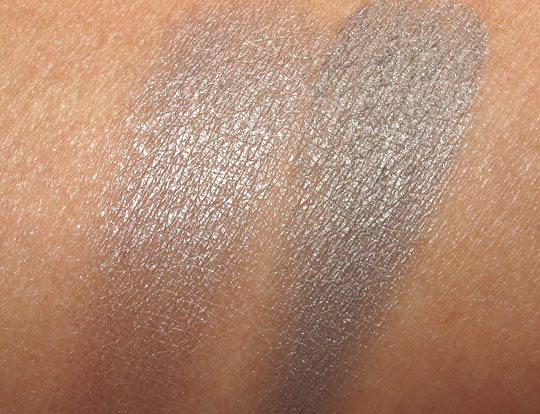 swatches of mac smoke and diamonds with the flash