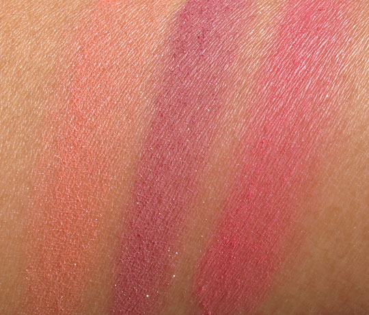 tarte amazonian clay blush swatches without the flash