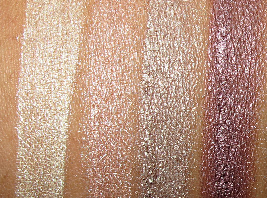 benefit creaseless cream shadow swatches in tattle tale, rsvp, birthday suit and get figgy