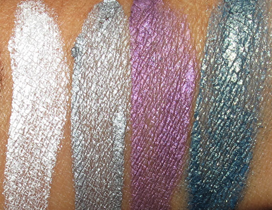benefit creaseless cream shadow swatches in ice shot, silver spoon purple snap and tidal rave