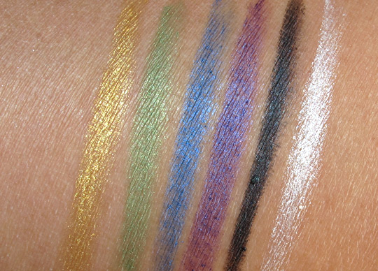 essence metallic eye pencils swatches with the flash