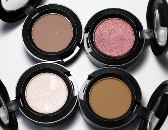 mac Creamy Bisque Moleskin Mythical Outre eye shadows