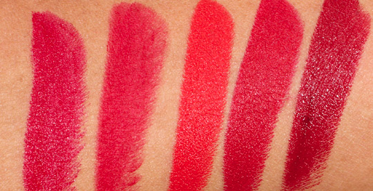 mac red lipstick swatches with ruby woo, lady danger, russian red and dubonnet