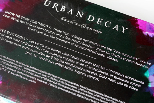 Urban decay summer 2012 nail kit box back