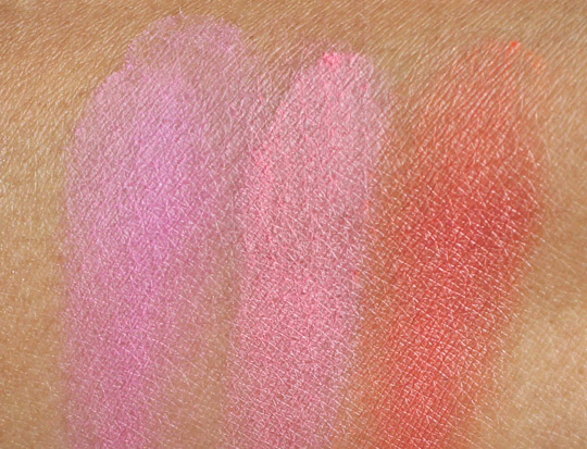 mac tres cheek swatches