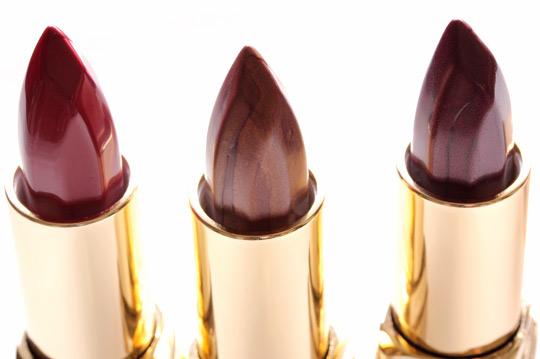 milani color perfect lipstick in red velvet, brown suede and plum deluxe
