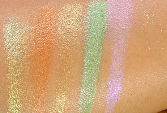 obsessive compulsive cosmetics the garden swatches loose colour concentrates