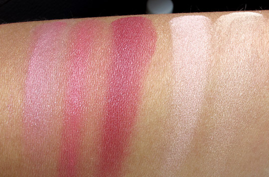 korres cheek butter magic light contouring trio swatches