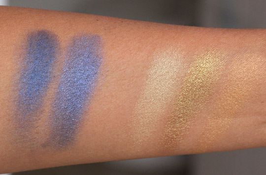 mac old gold naval blue swatches
