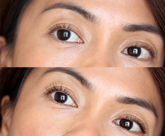 too faced cosmetics lash injection extreme volume tubing mascara before and after