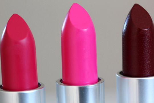 MAC Lipsticks in Moxie, Candy Yum-Yum and Rocker closeup