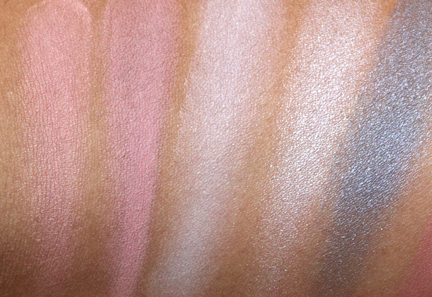 MAC Marilyn Monroe Swatches from the left: Blush in Legendary, Blush in The Perfect Cheek, Beauty Powder in Forever Marilyn, Eyeshadow in How to Marry and Eyeshadow in Showgirl