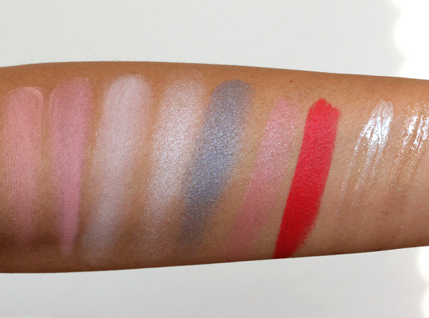 MAC Marilyn Monroe Swatches swatches in Blush in Legendary, Blush in The Perfect Cheek, Beauty Powder in Forever Marilyn, Eyeshadow in How to Marry, Eyeshadow in Showgirl, Lipstick in Pure Zen, Lipstick in Scarlet Ibis, Dazzleglass in Little Rock and Dazzleglass in Phiff