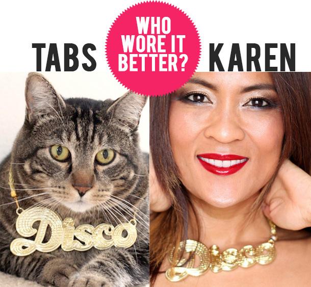 Tabs versus Karen who wore it better disco necklace