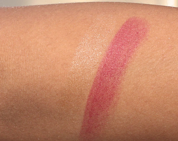 Swatches of Guerlain Shine Automatique Lipsticks in Altoum on the left and Lou-Ling on the right