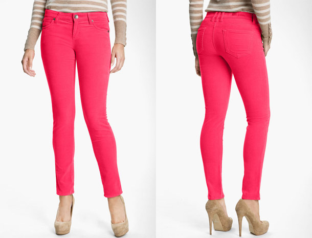 kut from the cloth diana skinny corduroy pants pink