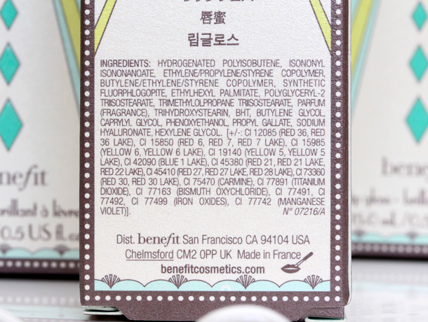 Benefit Ultra Plush Lip Gloss ingredients
