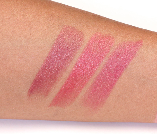 Clarins Rosewood Coral Pink Tropical Pink Rouge Eclat Swatches