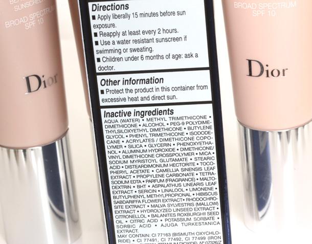 Dior Diorskin Nude BB Creme Ingredients