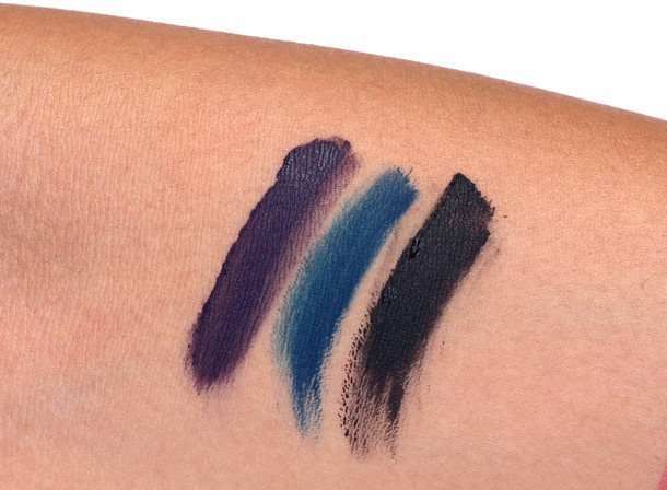 Laura Mercier Violet, Indigo and Noir Creme Eye Liner Swatches