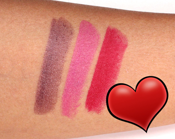 MAC Archie's Girls Veronica Lipsticks Swatches in Boyfriend Stealer, Daddy's Little Girl and Ronnie Red
