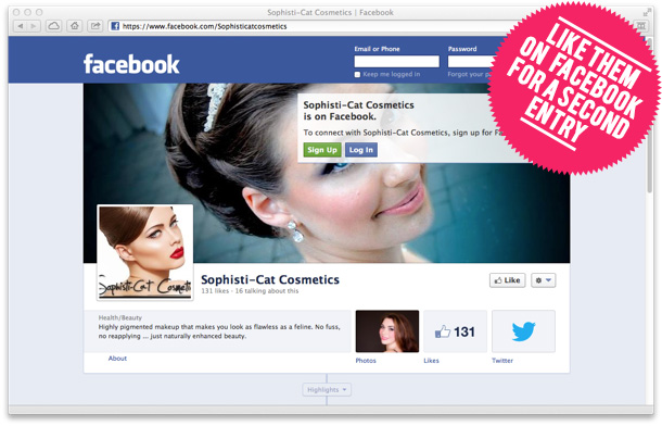 Like Sophisti-Cat Cosmetics on Facebook