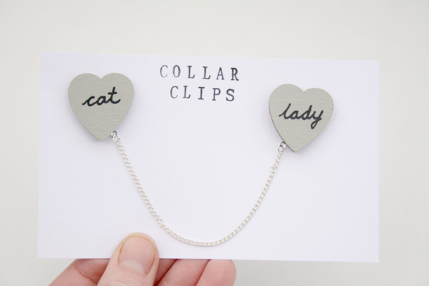 12 Cat Lady Word Heart Wooden Collar Clips